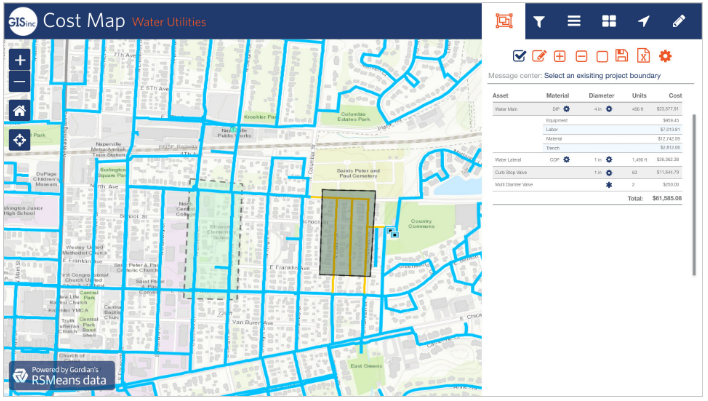 Cost Map Platform from GISinc, Powered by RSMeans data from Gordian